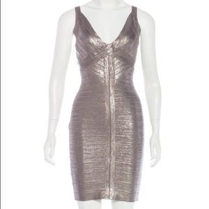 "Herve Leger ""Trista"" Foil Bandage Dress"